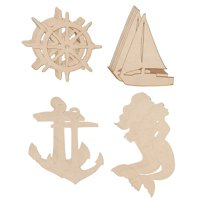 Wood Cutouts - 24-Pack Unfinished Wooden Cutouts, Ship's Wheel, Yacht, Anchor, Mermaid Shapes for DIY Arts and Crafts Projects, Decorations, Ornaments, 6 of Each