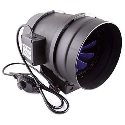 "Apollo Horticulture 8"" Inch 720 CFM Inline Duct Fan with Built in Variable Speed Controller for Ventilation"