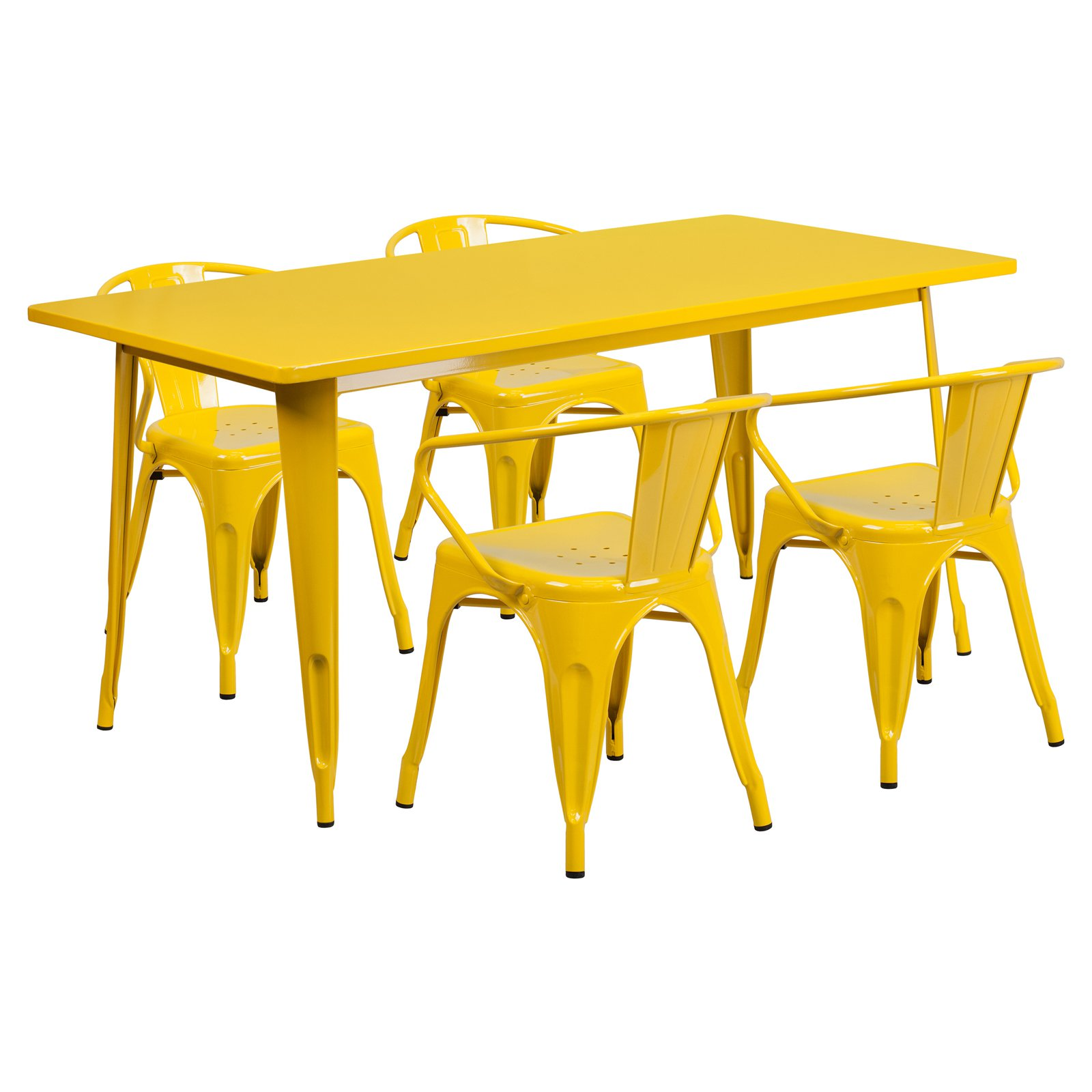 Flash Furniture 31.5'' x 63'' Rectangular Metal Indoor-Outdoor Table Set with 4 Arm Chairs Multiple Colors