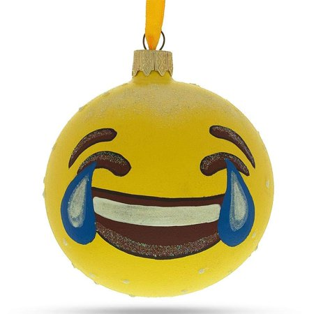 BestPysanky Laughing Face Emoji Glass Ball Christmas Ornament 3.25 Inches