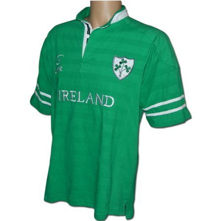 Irish Rugby Shirt, Irish Pride, Embroidered Shamrock Crest, Rugby World Cup, Green, (Embroidered Rugby)