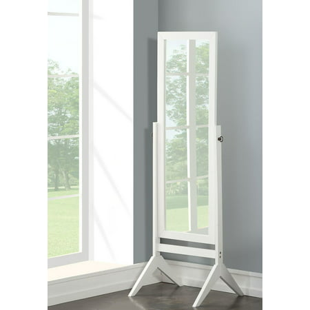 White Finish Wood Rectangular Cheval Floor Mirror, Free Standing