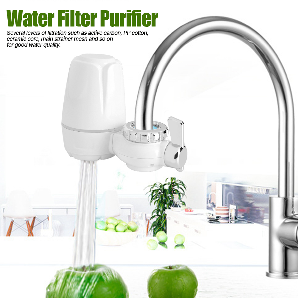 8Pcs ABS Household Kitchen Tap Faucet Mount Water Filter Purifier with Washable Ceramic Core Set
