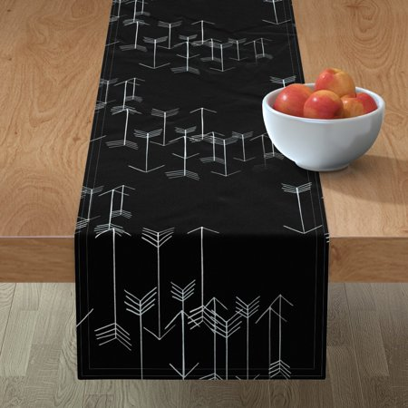Image of Table Runner Arrow Rustic Archery Black And White Black Primitive Cotton Sateen