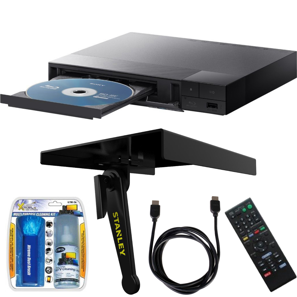 Sony BDP-S3700 Streaming Blu-ray Disc Player with Wi-Fi w/ Stanley TV Top Media Shelf, LCD Screen Cleaning Kit and HDMI Cable Bundle