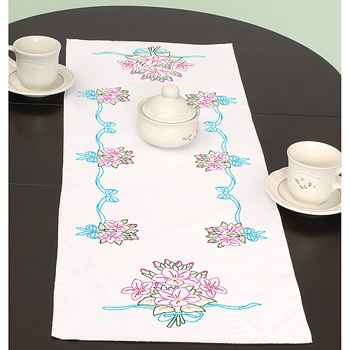 "Stamped Table Runner/Scarf, 15"" x 42"", Star Flower Bouquet"
