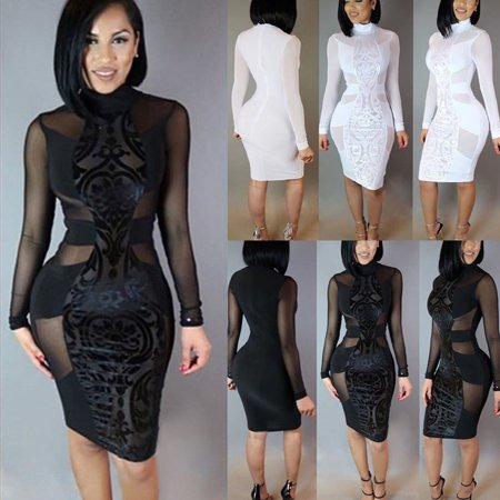 Women Bandage Bodycon Long Sleeve Evening Sexy Party Cocktail Mini