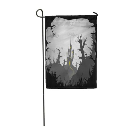 LADDKE Gray Halloween Black and White Spooky Castle A3 A4 Garden Flag Decorative Flag House Banner 12x18 inch