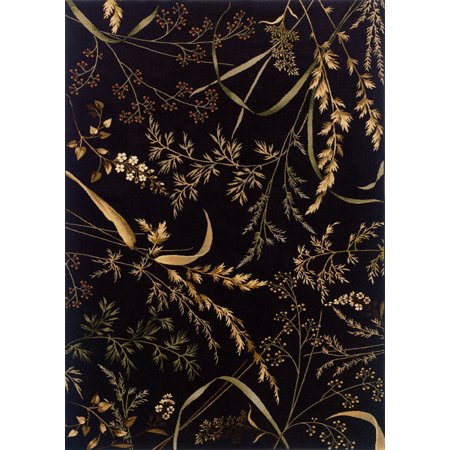 Sphinx Knightsbridge Area Rugs - 115K5 Country & Floral Black Leaves Tropical Vines Branches Rug