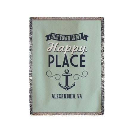 Old Town Alexandria, Virginia - Virginia Beach Is My Happy Place - Lantern Press Artwork (60x80 Woven Chenille Yarn Blanket)