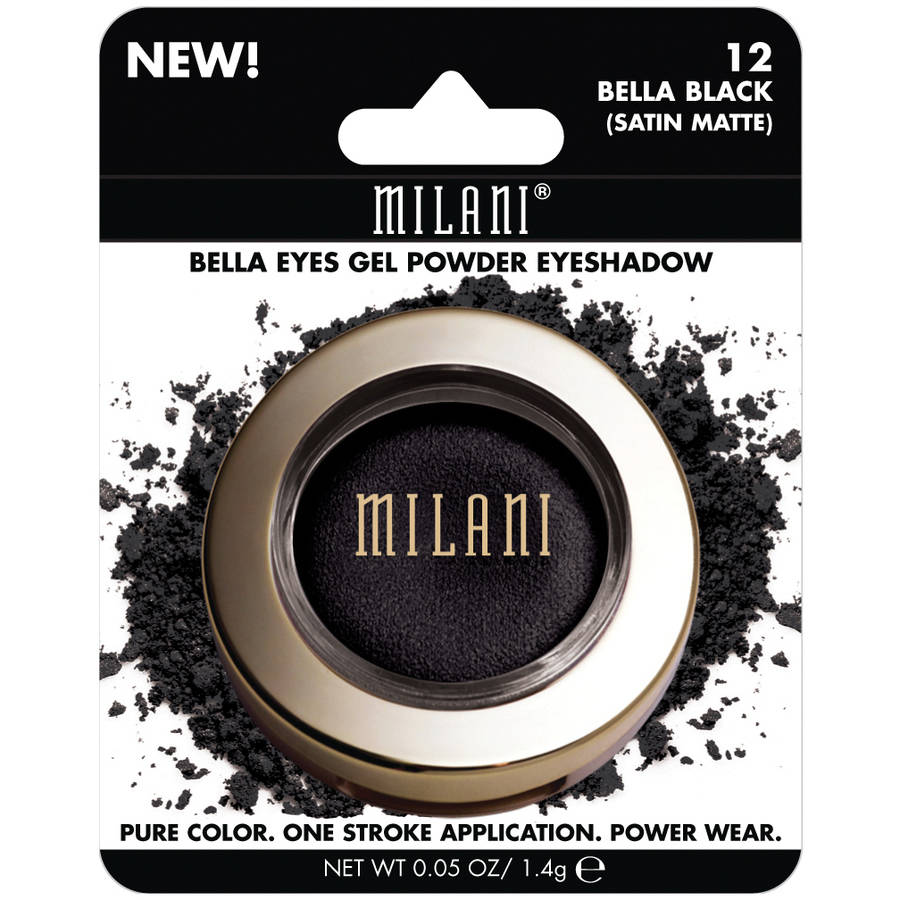 Milani Bella Eyes Gel Powder Eyeshadow, 12 Bella Black Satin Matte, 0.05 oz