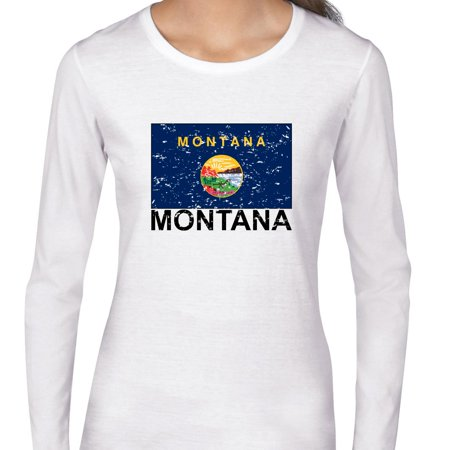 Montana State Flag   Special Vintage Edition Womens Long Sleeve T Shirt