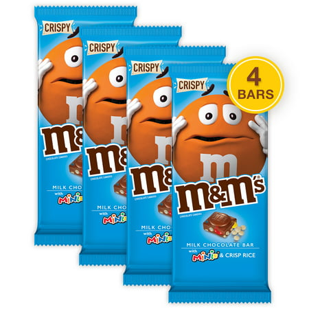 (4 pack) M&M'S Minis, Crispy Milk Chocolate Candy Bar, 3.8 (Mini Milk Chocolate Bottle)