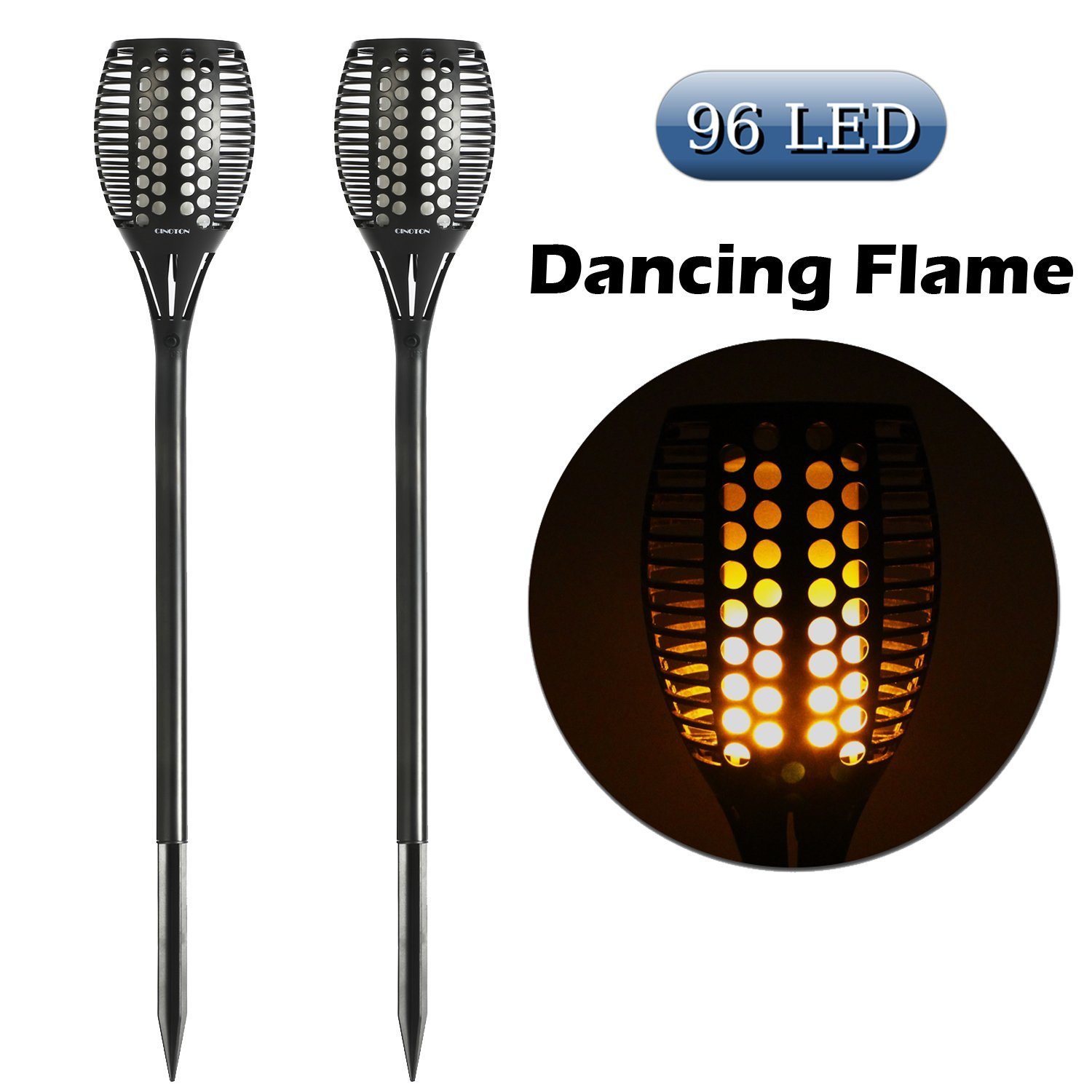 Cinoton solar path torches lights dancing flame lighting 96 led cinoton solar path torches lights dancing flame lighting 96 led flickering tiki torches outdoor waterproof2 pack walmart aloadofball Image collections