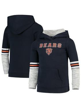 Chicago Bears Girls Youth Glitter Wordmark Pullover Hoodie - Navy