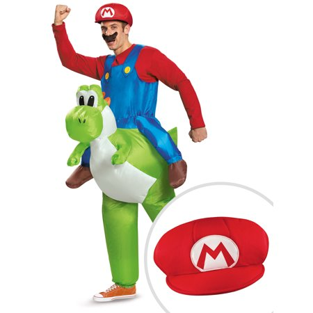 Inflatable Riding Costume (Super Mario Ride On Yoshi Inflatable Costume Kit Adult Standard With Mario)