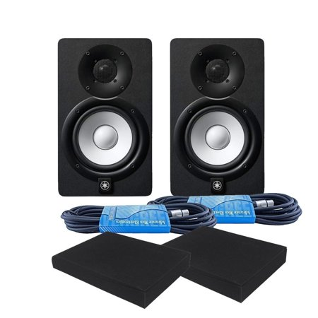 Yamaha HS5 Powered Studio Monitor Black PAIR with FREE Pads and XLR