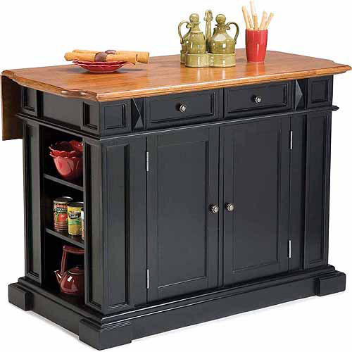 Home Styles Traditions Kitchen Island Black Distressed Oak Walmart Com Walmart Com