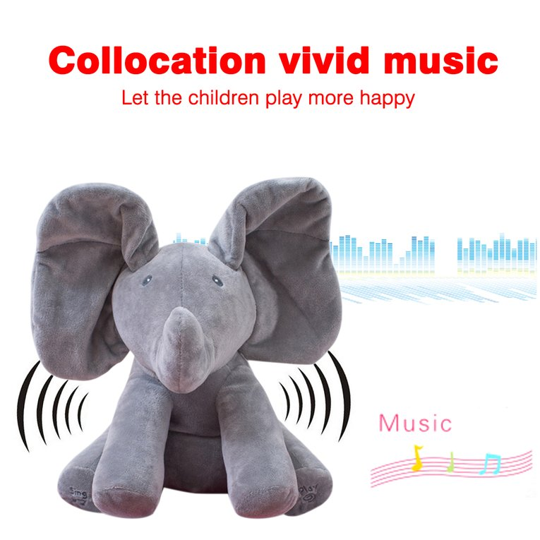 Gray Elephant Stuffed Toy Electric Music Elephant Hide And Seek Toy