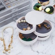 Jewelry Box, 360 Degree Rotating Jewelry Storage Box 4 Layers Jewelry Organizer Holder for Necklace Bracelet Ring Earring Small Items Container Case