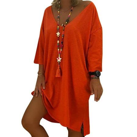 Women Summer Solid V Neck Long Sleeve Loose Midi Dress Plus (Long Sleeve V Neck Dress Plus Size)