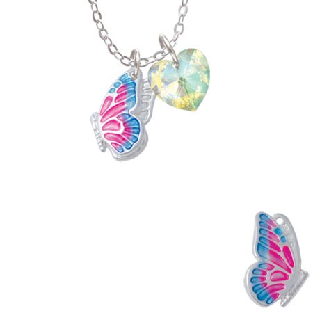 Translucent Hot Pink & Blue Flying Butterfly  - Clear AB Crystal Heart Sophia Necklace, 18