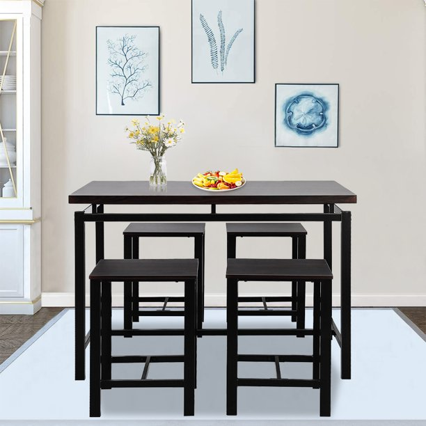 5-Piece Kitchen Table and Chair Set, BTMWAY Modern Metal ...