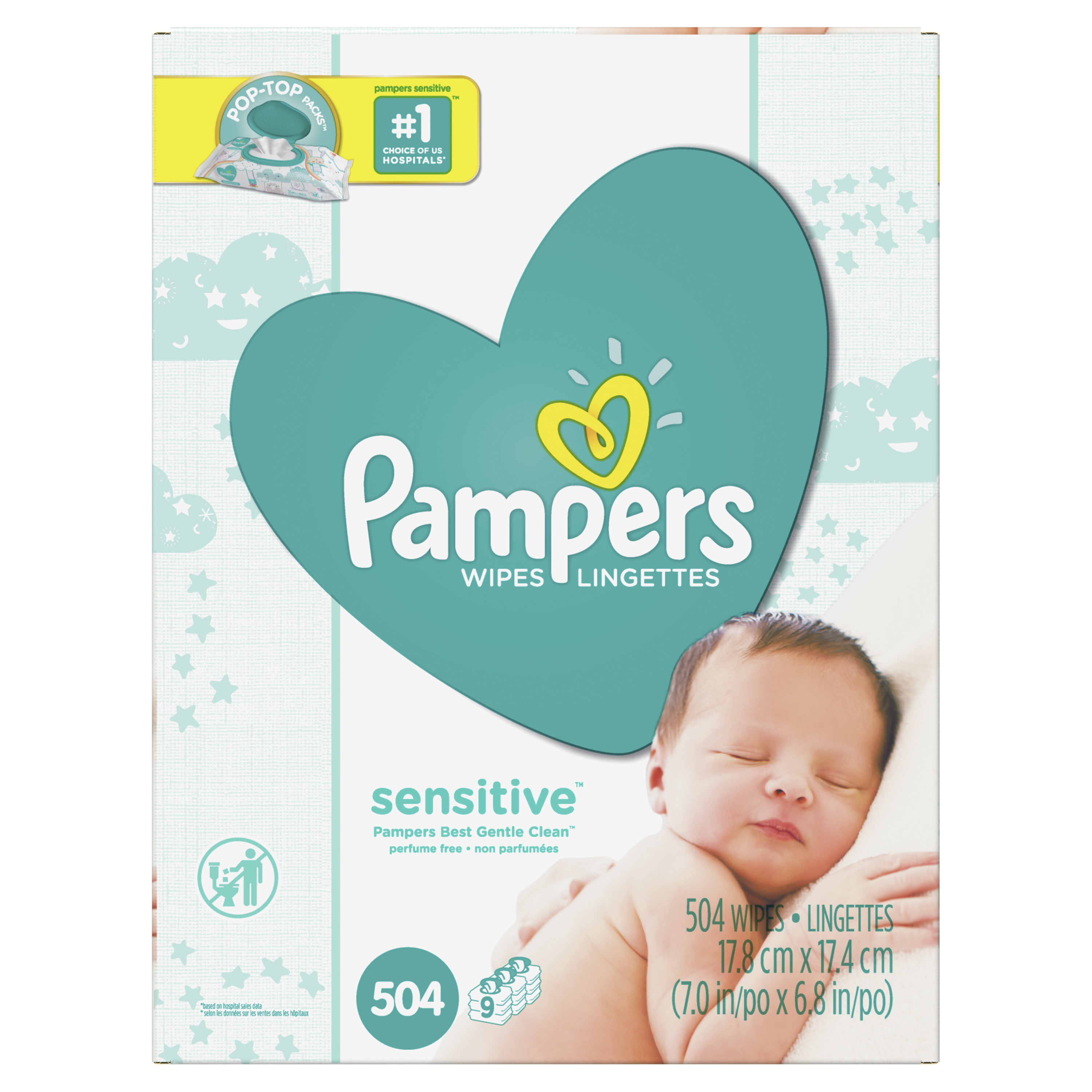 Pampers Baby Wipes Sensitive 9X Pop-Top Packs 504 Count