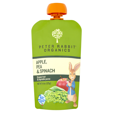 Peter Rabbit Organics Pea, Spinach and Apple, 100% Veg and Fruit Puree Baby Food, 4.4 oz (Pack of 10)