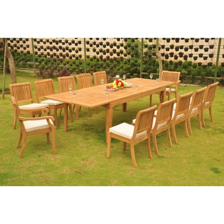Phenomenal Teak Dining Set 12 Seater 13 Pc Large Caranasas 122 Double Extensions Rectangle Dining Table 10 Armless 2 Arbor Stacking Arm Captain Chairs Ibusinesslaw Wood Chair Design Ideas Ibusinesslaworg