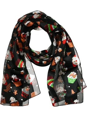 CTM®  Christmas Holiday Print Lightweight Scarf (Women's)