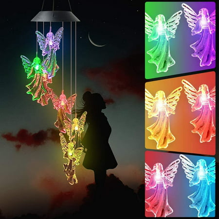 Angel Wind Chime Solar Wind Chimes Outdoor Gardening Gifts for mom Unique Birthday Gifts for Women who has Everything Mother Gifts Gifts for Girlfriend Valentine Gifts for Wife TOP UNIQUE GIFTS Solar Angel Wind Chime The interesting wind chimes light decoration is not only the best gift for girlfriend, wife's wedding anniversary, child's birthday,mother's birthday, or Mother's Day, Father's Day,Thanksgiving Day,Valentine's Day and Christmas, But also the high-quality interesting led wind chimes gardening/home gift for anniversaries. Day and night effects In sunny days,they will charge themselves and glow at night. Just hang the solar wind chimes in your fence,courtyard,window,door and front porch. On a quiet night,the lovely wind chimes will make you feel at ease and make your yard beautiful and colorful. You can even hang them indoors to fill your room with romance,so that you and your loved ones can enjoy this beautiful color light. Best gift Meaning of an angel Angel is a messenger of God, she is sent by God to protect the world, and an angel represents holiness, goodness, and integrity. She will protect you from demons, bless you and your family, and guard you and your loved ones. Color changing These are interesting and magical wind chimes.At night,them will glow in wonderful colors.  solar power,charge and light up automatically The first time, you need to keep the switch   ON  ,Remember never to turn off the switch,Then Hang the solar panels in a sunny location.Chimes will automatically charge day and automatically light up at night. HIGH QUALITY SOLAR ANGEL WIND CHIME LIGHT Specification: Item name:Solar Wind Chime Switch: ON/OFF switch. Waterproof Level: IP55 Voltage: 2V 60mA NICD Battery: 600MA Full charge time: 8 hours (Withe direct sunlight) The solar panel is located at the top of the wind chimes. Light weight and color changing light. It is not make any sound. How to charger: In order to verify that the switch is correctly in the  ON  position, cover t