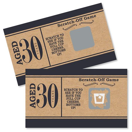 30th Birthday Party Decor (30th Milestone Birthday - Party Game Scratch Off Cards - 22 Count)