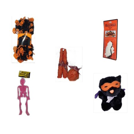 Pink Floyd Halloween Pumpkin (Halloween Fun Gift Bundle [5 Piece] -  Black & Orange Pumpkin Garland 10 ft. -  Resin