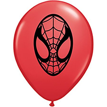 Marvel Spiderman Face 5 Round Balloons Red Pack Of 100 Colors