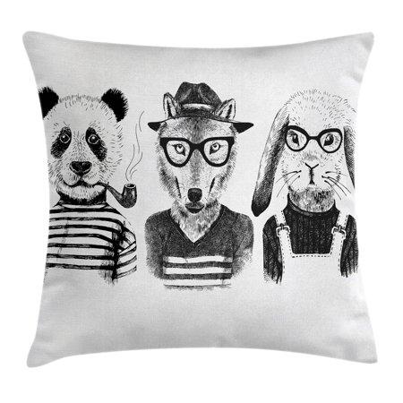 Animal Throw Pillow Cushion Cover Hipster Panda Bear Cigar Fox And Classy Hipster Decorative Pillows