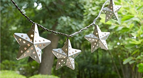 10-Light Metal Outdoor Star Incandescent String Light Set, Outdoor string light features 10 star-capped incandescent... by