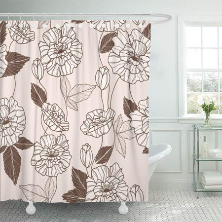 PKNMT Beige Beautiful Pattern with Elegant Red Poppy Flowers Brown Beauty Blossom Creative Bathroom Shower Curtain 66x72 inch ()