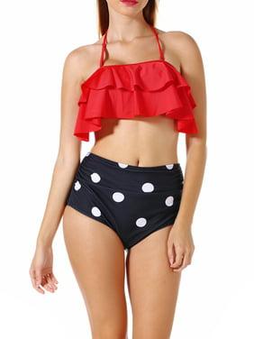 Women's Plus-Size Slimming High-Waisted Bikini Two-Piece Swimsuit Set