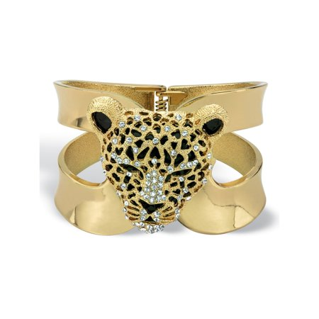 Crystal Leopard Hinged Cuff Bangle Bracelet in Gold Tone (50mm)