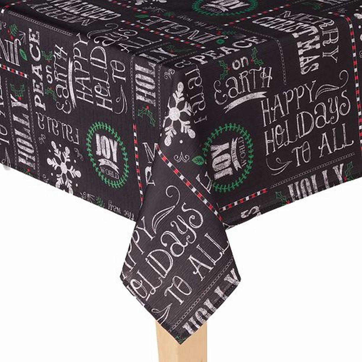 St Nicholas Square Black Christmas Sentiment Tablecloth Fabric Table Cloth 60x84 Walmart Com Walmart Com