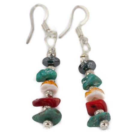 Delicate $80 Retail Tag Navajo .925 Sterling Silver Hooks Authentic Made by Charlene Little Natural Turquoise Spiny Oyster Coral Hematite Native American Dangle Earrings