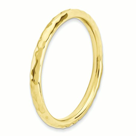 925 Sterling Silver Gold Plated Hammered Band Ring Size 10.00 Stackable Textured Fine Jewelry For Women Gifts For Her - image 5 de 8
