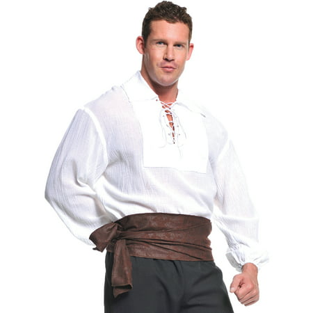 White Pirate Shirt Adult Halloween Costume