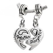 """Mother Charm Two Piece"""" Mother Daughter"""" Heart Charm Beads for Snake Chain Bracelet"""