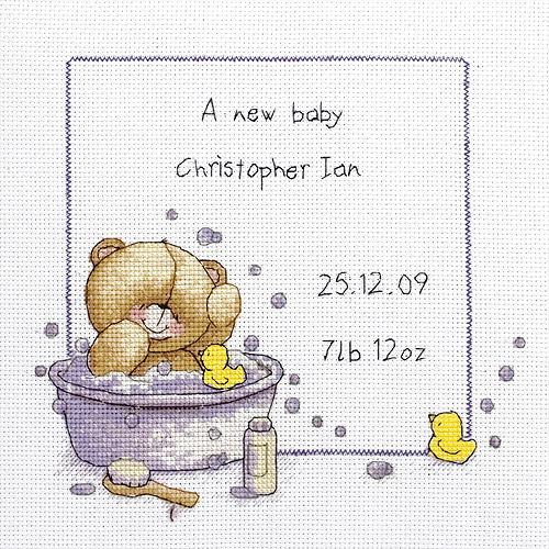 Maia Forever Friends Bath Time Birth Sampler Mini Counted Cross Stitch, 7-3/4 inch x 7-3/4 inch, 14 Count