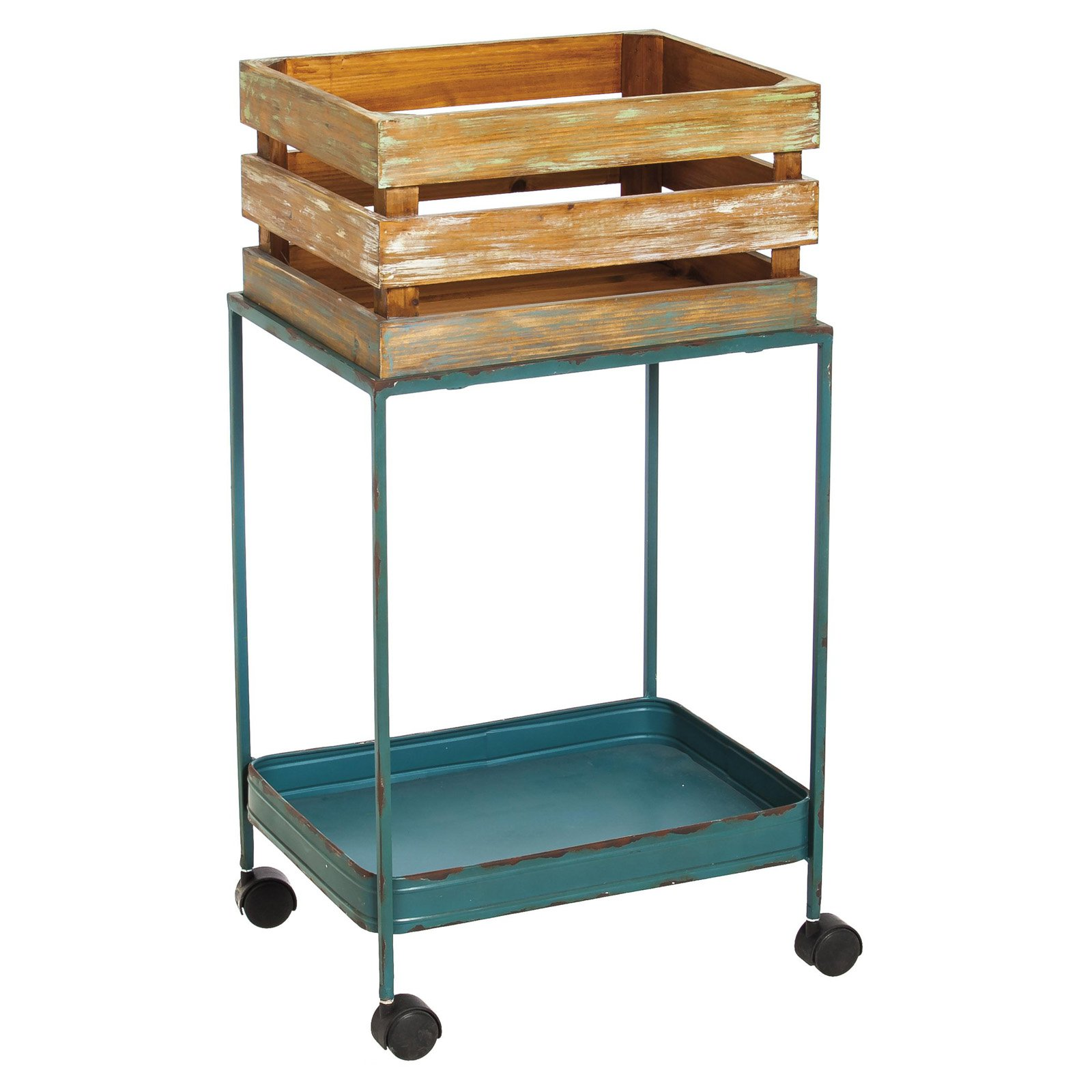 Evergreen Enterprises Distressed Wooden Crate on Blue Metal Cart on Wheels