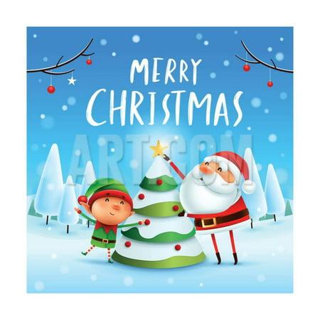 Merry Christmas! Santa Claus and Elf Decorate the Christmas Tree in Christmas Snow Scene. Winter La Print Wall Art By ori-artiste - Elf Santa Scene