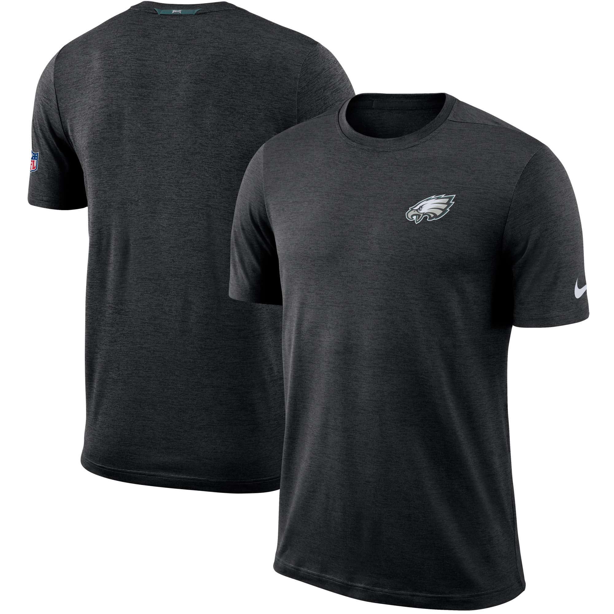 Philadelphia Eagles Nike Sideline Coaches Logo Performance T-Shirt - Black - S