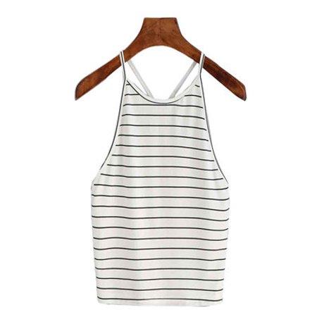 Women Fashion Sexy Striped Tank Top Sleeveless T-Shirt Tops